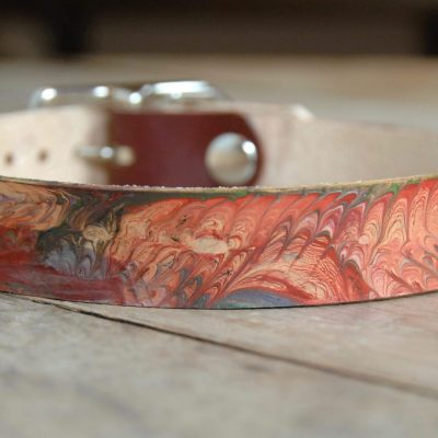 marbled leather dog collar
